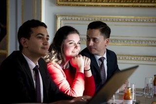 Students have class at Hotel de Crillon