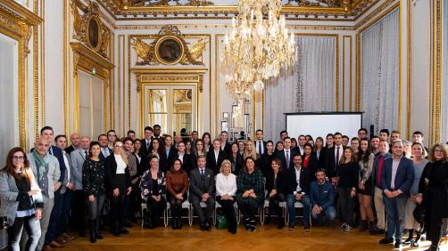 The Princess Beatrice d'Orleans is giving a lecture about luxury to Bachelor's students in a sumptuous banqueting room at l'Hôtel de Crillon